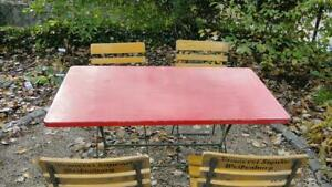 Vintage German Beer Garden Patio Table And Chair