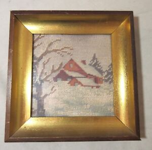 Antique Hand Embroidered Landscape Barn Needlepoint Embroidery Art