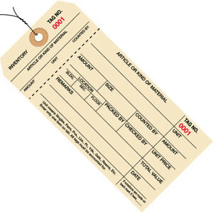 Manila 2000 2999 Inventory Tags 1 Part Stub Style 8 Pre wired Case Of 1000