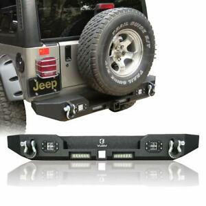 Fits Jeep Tj Rear Bumper With 4 Led Lights And D Rings For 87 06 Jeep Tj Bumper