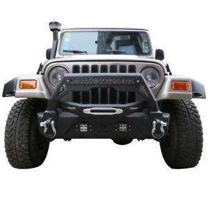 Vijay Front Bumper With Two Square Lights And Led Strips Jeep Wrangler Tj 87 06