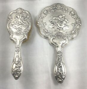 Great Gorham Sterling Cherub Design Large Brush Mirror Set