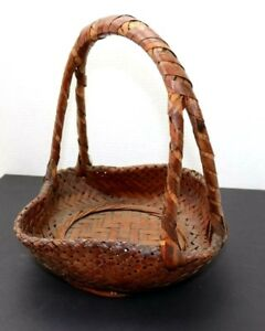 Antique Japanese Ikebana Basket Bamboo From 19th Century