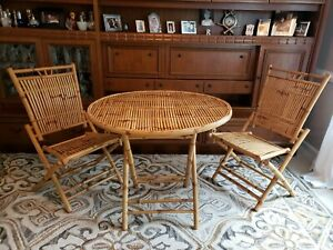 Vintage Rattan Bamboo Round Patio Sunroom Dining Table Chairs Set Boho Nice