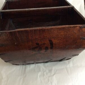 Large Antique Chinese Wood Rice Grain Measure Harvest Bucket Basket With Handle