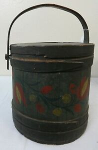 Antique Paint Decorated Wood Firkin Bucket Bent Wood Bands Tulips
