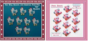 Rooster Magnets Rooster Push Pins Or Pink Birds Magnets Pink Birds Push Pins