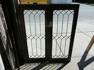 Pair Antique Stained Glass Cabinet Doors 18 X 44 Architectural Salvage