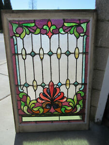 Large Antique Stained Glass Window 29 5 X 44 Architectural Salvage