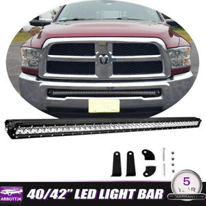 For 03 18 Dodge Ram 1500 2500 Front Hidden Bumper 40 42 Led Light Bar Combo