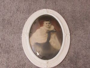 Antique Shabby Chic Oval Convex Bubble Glass Gesso Picture Frame W Baby Pic