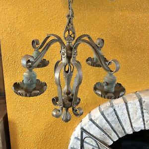 Vintage Original Gold Metal Electric Chandelier 4 Arms Pole Chain Wires Detailed
