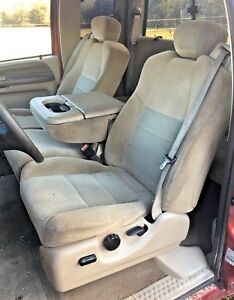 1999 2010 Ford F250 F350 Super Duty Seat Seats Tan Cloth Power Extended Cab