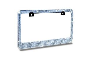 12 Rows Clear white Bling Crystal Rhinestone Metal License Plate Frame free Cap
