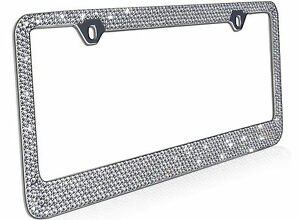 12 Rows Clear White Bling Crystal Rhinestone Metal License Plate Frame Free Caps