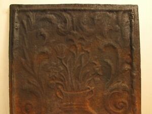 Antique Cast Iron Fire Back 1719 18th C Repro Floral Dated 24 X17