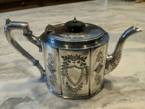 Antique Silver English Teapot W Ebony Wood Handle Floral Etching Marked