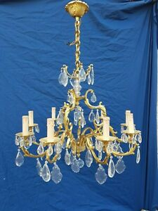 Antique French Large Bronze Chandelier Louis Xv Crystal Rococo L Gau 1950