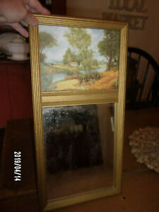 Vintage Wood Gold Painted Framed Signed Print Mirror Fall Cottage 18 X 9