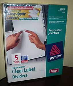Avery Index Maker Clear Label Tab Dividers 3 hole Punch 5 tab Pk Of 25 Sets