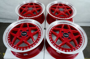 15 4x100 Red Wheels Fits Chevrolet Cobalt Spark Aveo Civic Yaris Mr2 4 Lug Rims