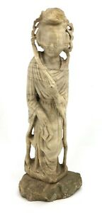 Antique Chinese Hand Carved Soapstone Statue 22 Tall
