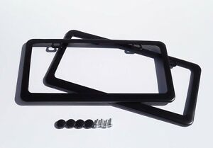2 X Premium Black Stainless Steel License Plate Frame For Audi Bmw Benz Chrysler