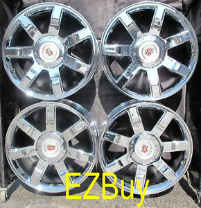 22 Inch New Cadillac Escalade Chrome Wheels Rims 5309 With Center Caps Set Of 4