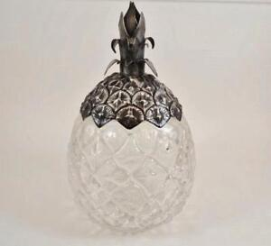 Pineapple Shape Glass Honey Jam Jar With Sterling Silver Lid Excellent Condition