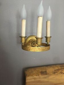 Pair Early 19th C English Regency Gilt Bronze 3 Light Ring Sconces Electrified