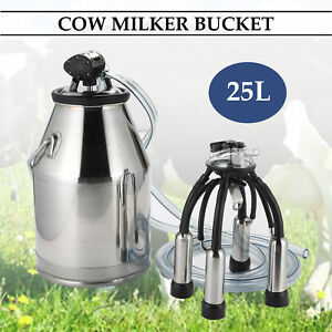 Dairy Cow Milker Milking Machine Bucket Tank Barrel Stainless Steel 25l
