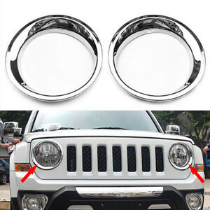 Fit For 2011 2017jeep Patriot Chrome Front Head Light Headlamp Cover Trims 2x