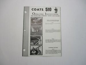 Used Coats 510 Tire Changer Operating Instructions