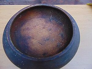 Antique Very Old Primitive Wooden Carved Bowl With Great Patina 18c