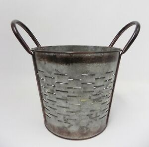 Small Galvanized Slotted Bucket Antiqued Primitive Vintage Shabby Country New