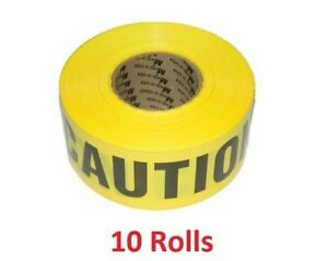 10x Caution Barricade Tape 1000 Ft X 3 In X 3 Mil Yellow Black Mutual Industries