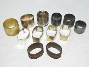 12 Vintage Napkin Ring Holders Silver Plate Victorian Wood French Cow Horn