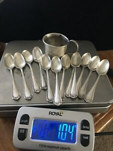 Antique 1900 Roger Wallace Sterling Silver 12 Coffee Spoons Set With Cup