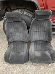 Camaro Firebird Trans Am Front Seat Set Dark Gray Cloth Nice Condition