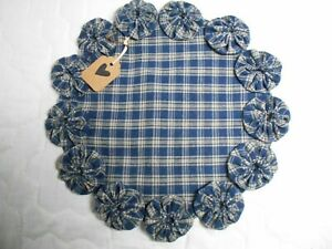 Primitive Blue Homespun Fabric Candle Mat Table Runner Topper Yoyo Doily 4