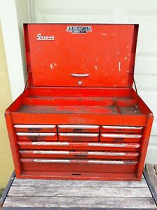 Vtg Snap On Tools Kra 59a 9 Nine Drawer Red Tool Chest Box Cabinet 1967 Usa