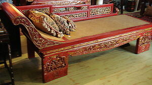 Fabulous Antique Chinese Lacquer Wood Chaise Lounge Day Bed W Rattan
