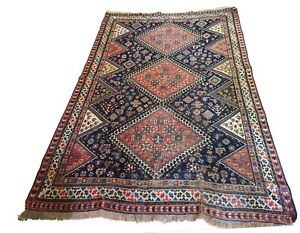 Superb And Rare Antique Tribal Persian Kamseh Qasqai Rug 7 6 By 4 9