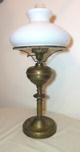 Antique Large Heavy Brass Hobnail Milk Glass Electrified Oil Table Parlor Lamp