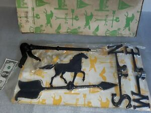 Nos Vintage Cast Aluminum Horse Weathervane In Original Packaging Never Used