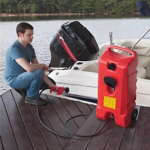 Large Gas Can Caddy Fluid Transfer Pump Portable Gasoline Boat Tank Diesel Hose