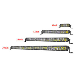 Single Row Led Pods Light Bar 6 14 20 30 In Work Driving Spot Flood Combo 4wd