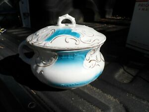 Antique Dresden Semi Porcelain Chamber Pot W Lid And Handle Blue Gold Decorated