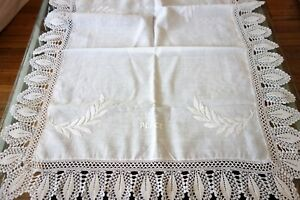 Antique Linens English World War Cloth W Peace And Victory Crochet Edge