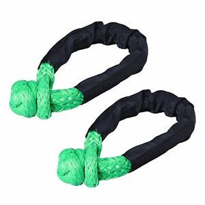 2x Black Green 1 2 Soft Shackle Synthetic Rope Tow Recovery Strap 38 000 Lbs
